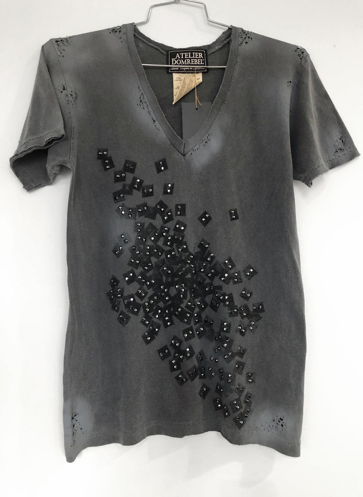 FALLING STUDS SMALL V-NECK 200 CRYSTALS