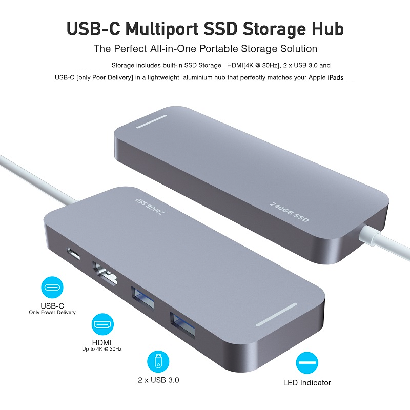 "5 in 1 USB-c drive Hub 240GB SSD for ipad Air4 & pro 11""/12.9"""