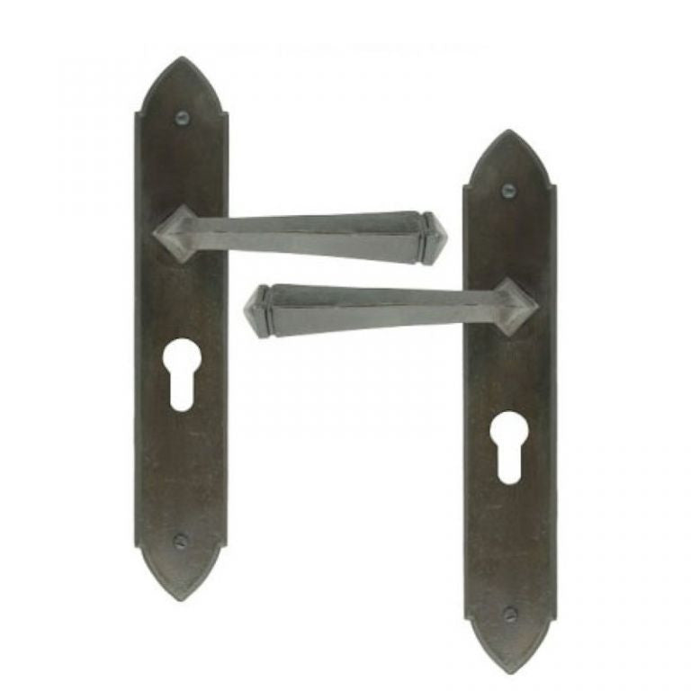 Anvil Gothic Hand Forged Traditional Lever Euro Lock Door Handles | ATC