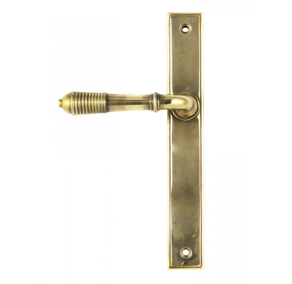 Reeded Slimline Sprung Lever Latch Set  (z)