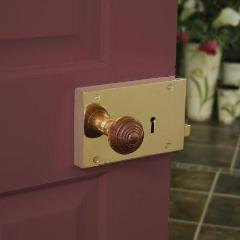 Rosewood Wooden Door Knob Set on Brass Backplate | Anvil 83562 | ATC