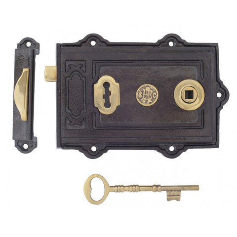 Anvil Cast Iron Brass Davenport Victorian Period Door Rim Lock | ATC