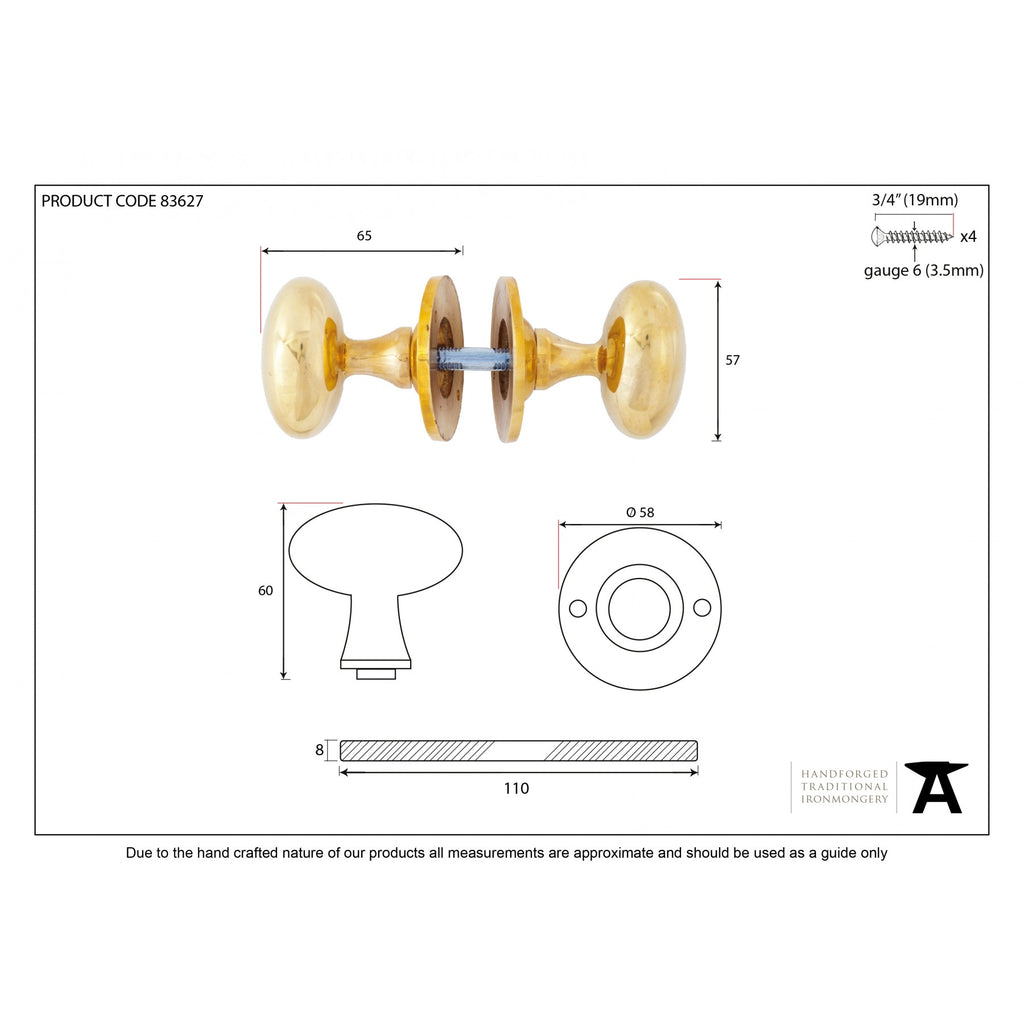 Solid Brass Gold Smooth Oval Rim Lock Door Knobs | Anvil 83627 | ATC ...