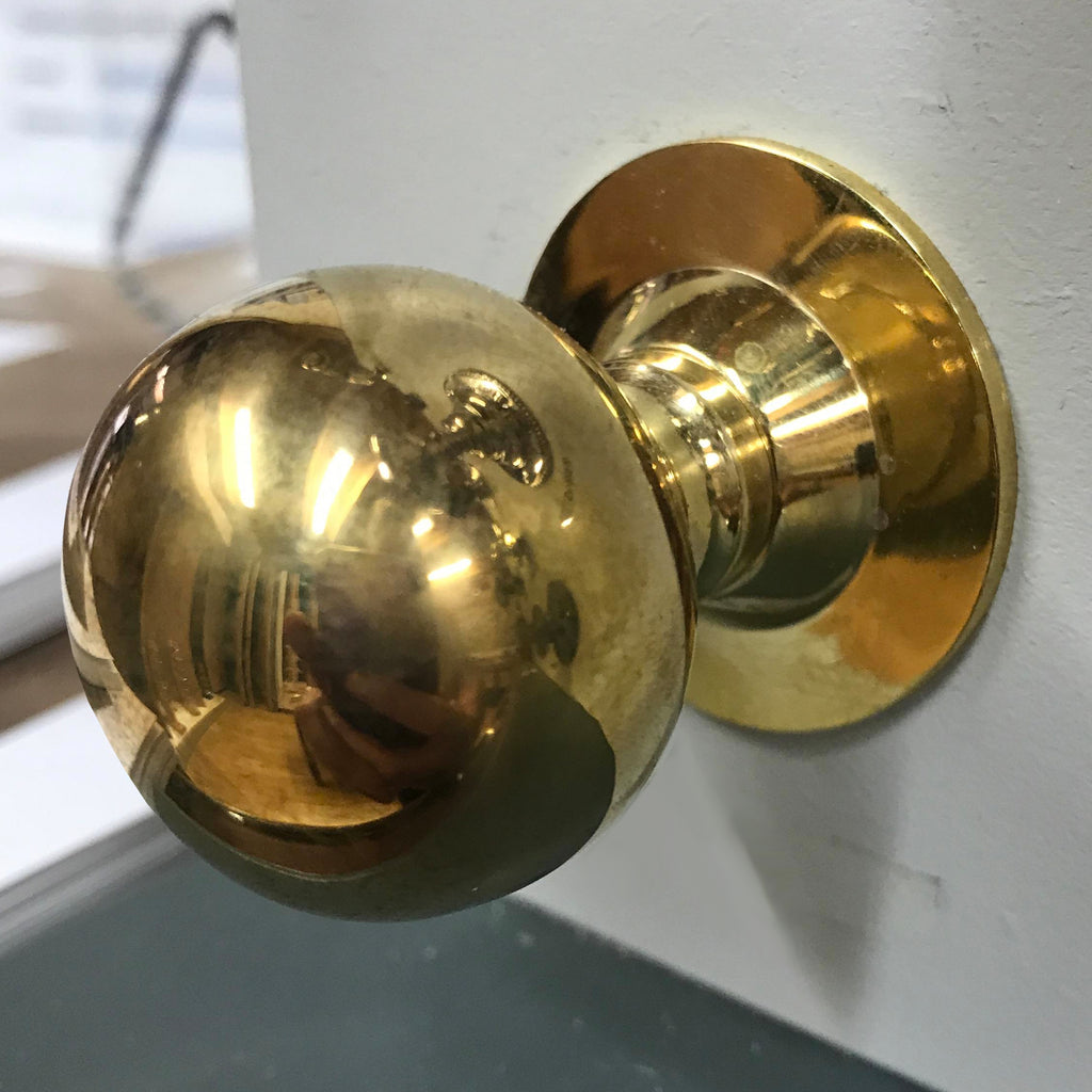 Anvil Polished Solid Brass Ball Mortice Door Knob Handle Set | ATC