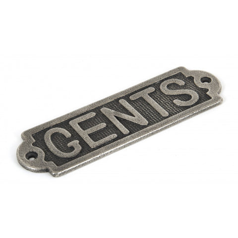 Anvil Pewter Solid Brass Commercial 'Gents' Toilet Door Sign Plate | ATC