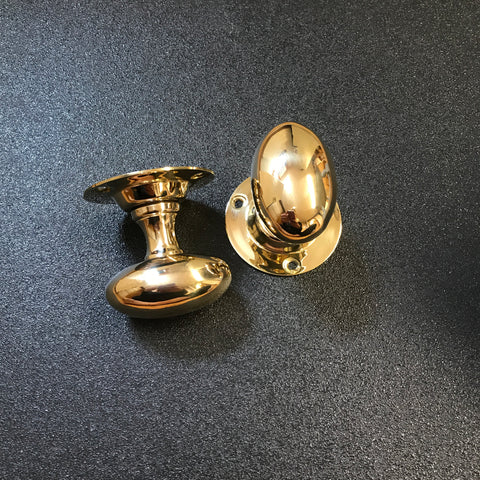 Polished Solid Brass Oval Mortise Door Knobs | ATC