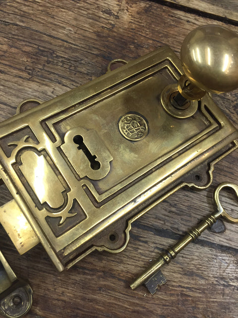 Solid Cast Brass Antique Davenport Period Victorian Door Rim Lock | ATC