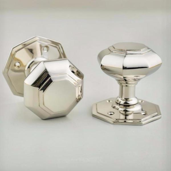 Nickel Plated Brass Chrome Victorian Octagonal Door Knobs | ATC