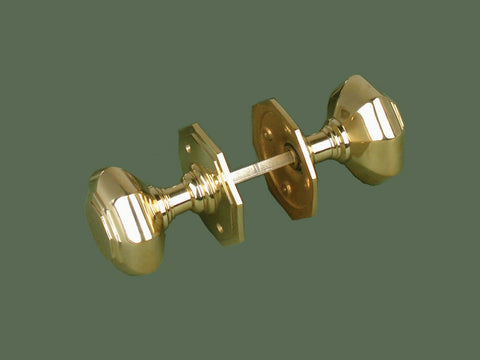 Polished Brass Octagonal Door Knobs