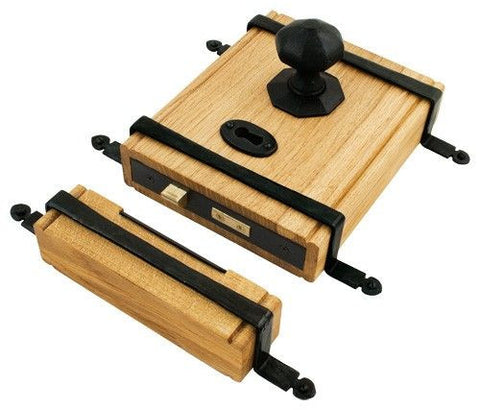 From the Anvil Oak Box Lock & Octagonal Knob Set - Pewter & Black | ATC