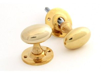 Solid Brass Gold Smooth Oval Rim Lock Door Knobs | Anvil 83627 | ATC