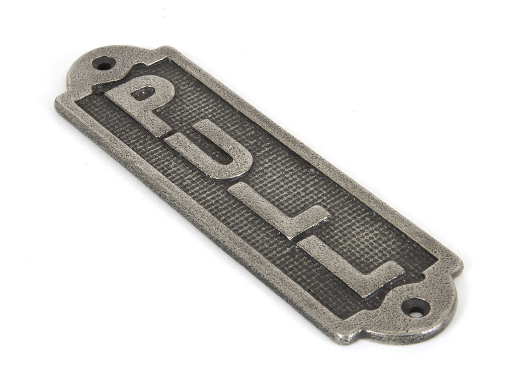 Anvil Pewter Solid Brass 'Pull' Commercial Toilet Door Sign Plate | ATC