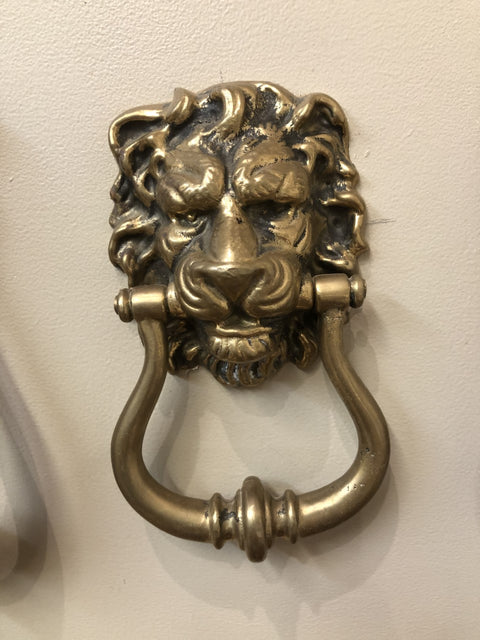 Antique Solid Brass Victorian Georgian Traditional Lion's Head Door Knocker