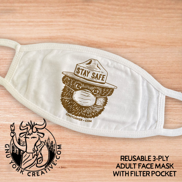 Soft, Reusable, 3-ply, Adult face masks with filter pocket (order 3+ and save!)