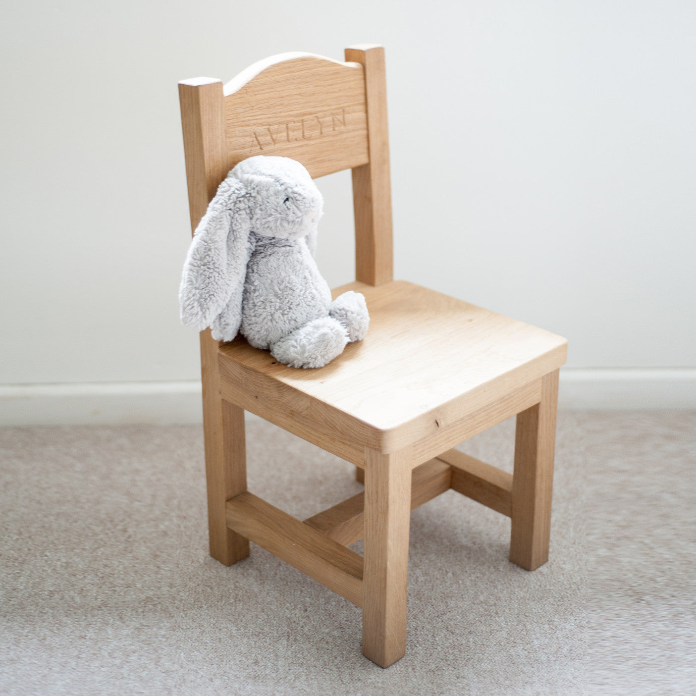 Kids personalised oak chair