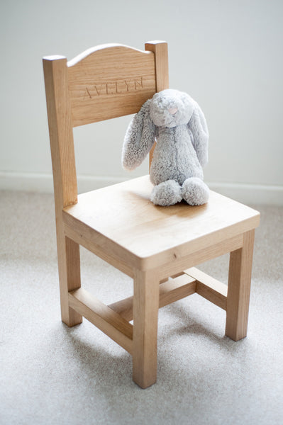 childrens personalised oak chair