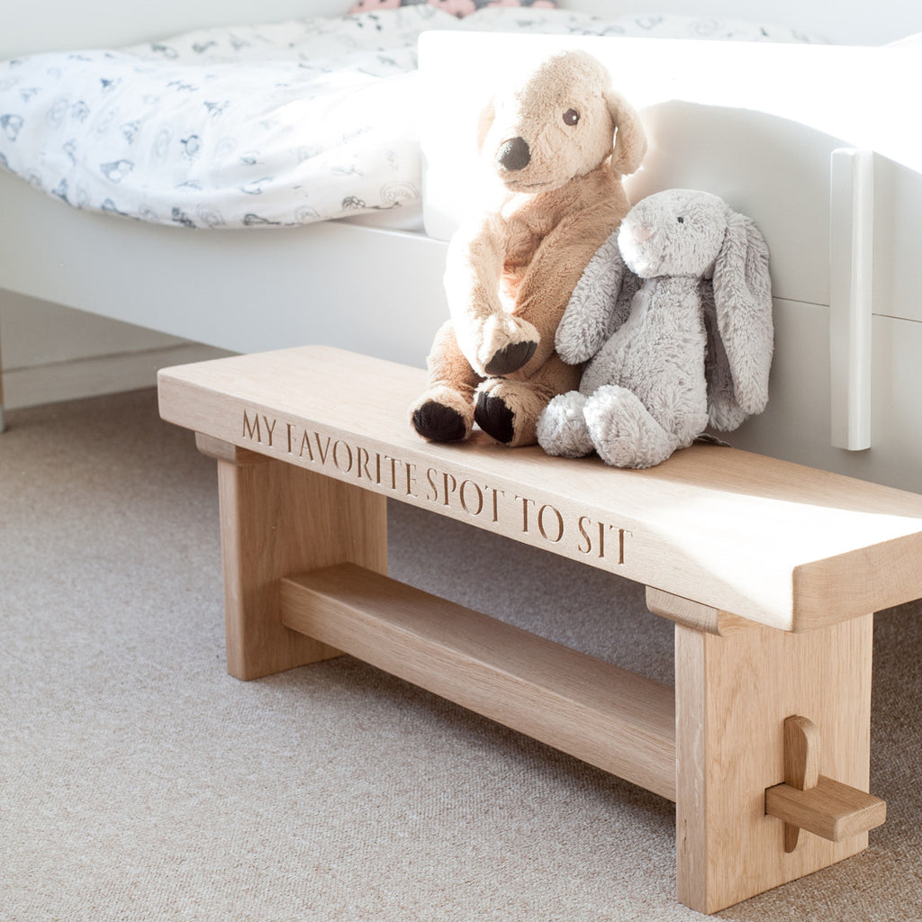 Childrens personalised oak bench