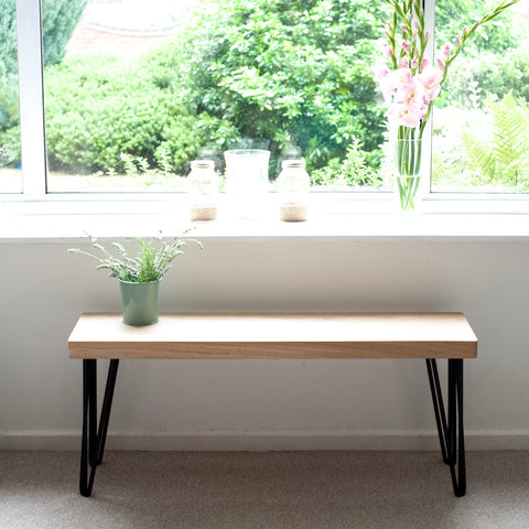 Oak Hairpin Bench