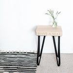 Oak Hairpin Stool