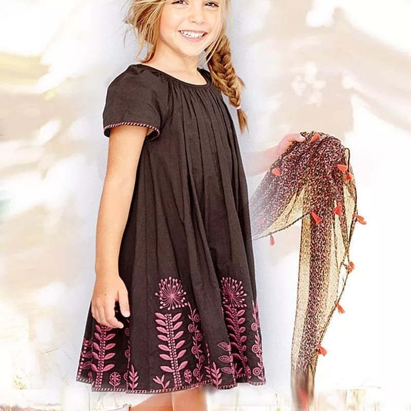 Hello World!Girl's Cotton Embroidered dress...