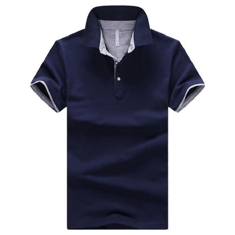Polo,Solid Color Short-Sleeved Men's Polo Shirt
