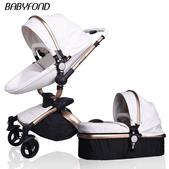 Pram,Gold Frame Baby Stroller 360 Degree Rotate Carriage EU safety Car Seat with Bassinet