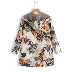 Hot, Warm Floral Print Vintage Hooded Jack
