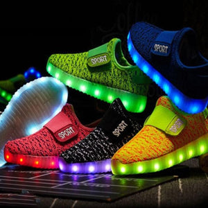 Children's LED Shoes USB Charging Luminous Glowing Unisex with Backlight up Sneakers