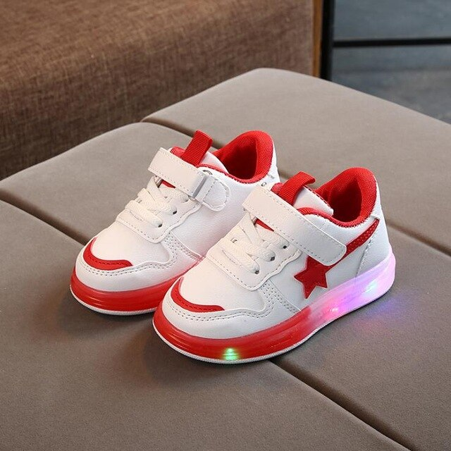 Children Star Led Luminous Sport Candy Colour Flashing Lights Sneakers