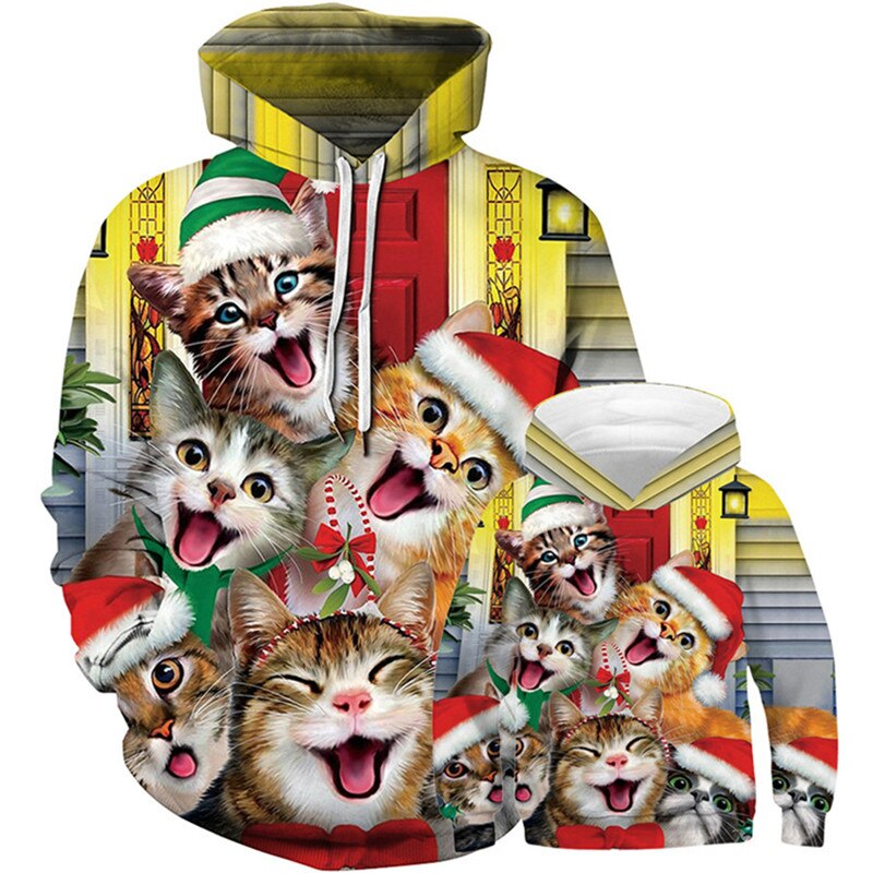 3D Christmas Family Lovely Animal Cat Tree Sloth Print Hooded Sweatshirt