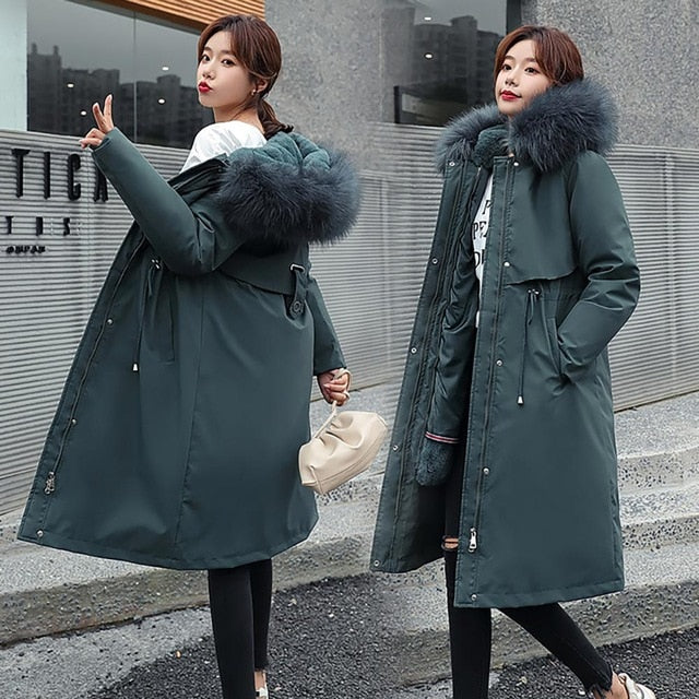 Women Thick Removable Lining Hooded Coat
