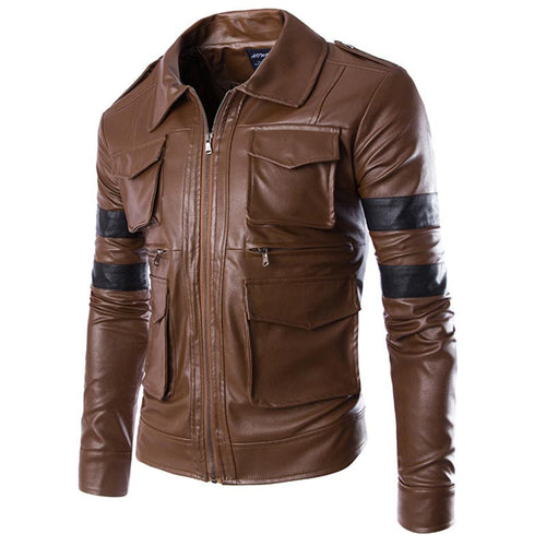 England Style Leather Jacket Men Coat Multi-Pocket Design Men Zipper Motorcycle Jacket Solid Coat - fazbima