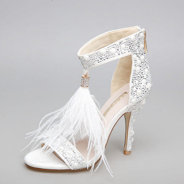 Genuine Leather Rhinestone Feather Thin High Heel - Fozbima Accessories