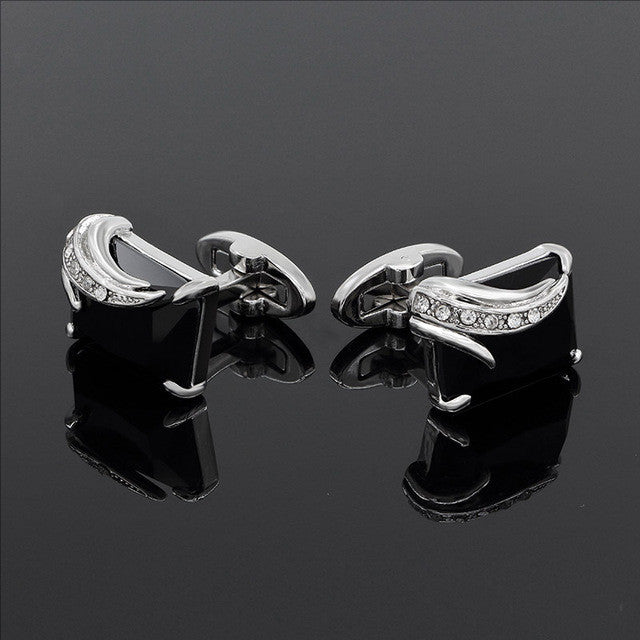 Cufflinks Crystal Wedding Shirt Design Silverblack