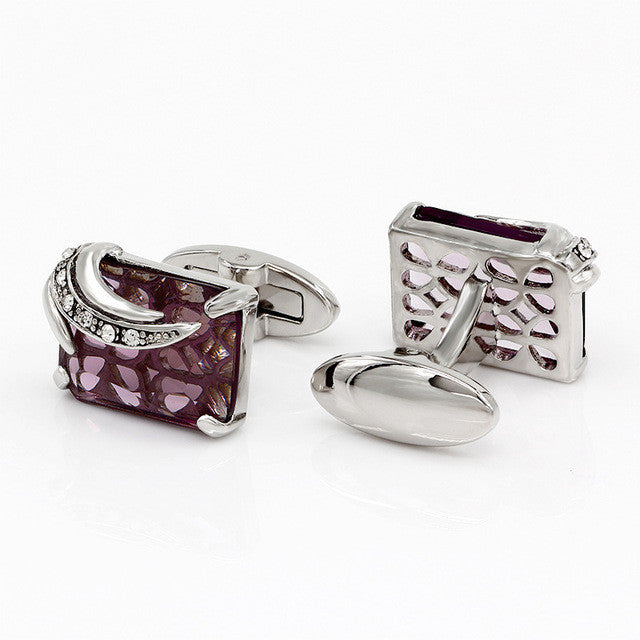 Cufflinks Crystal Wedding Shirt Design Silverpurple