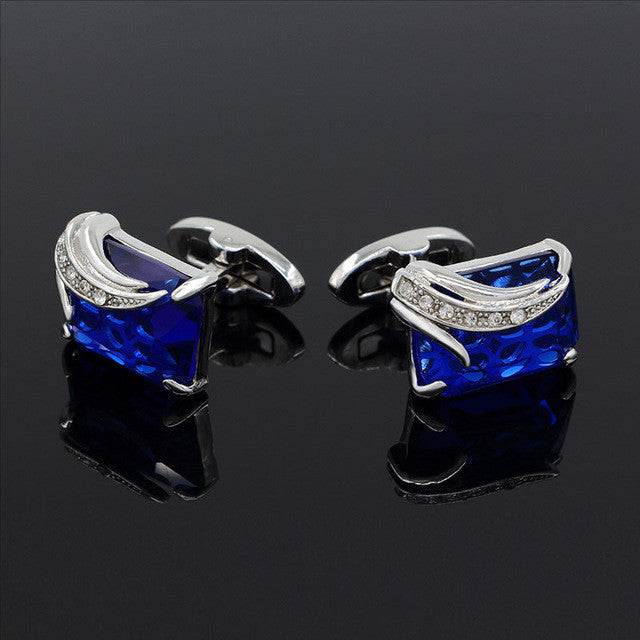 Cufflinks Crystal Wedding Shirt Design Sliverdarkblue