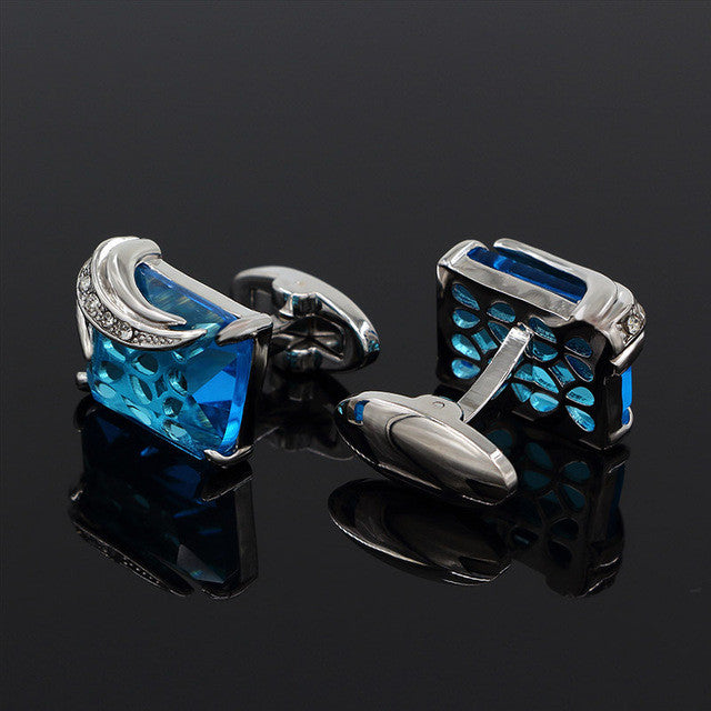Cufflinks Crystal Wedding Shirt Design Silverblue