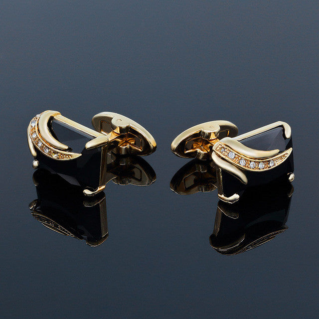 Cufflinks Crystal Wedding Shirt Design Goldblack