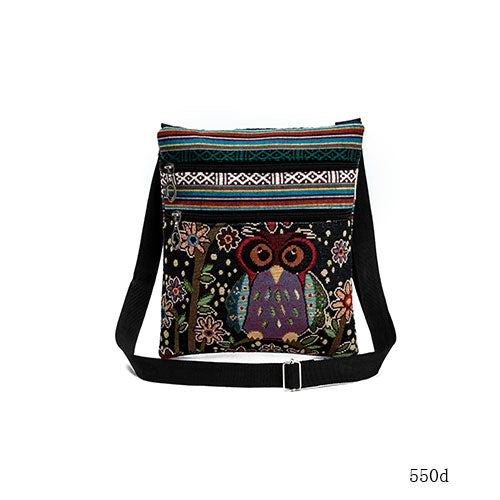 Owl Printed Canvas Double Zipper Mini Bag - fazbima