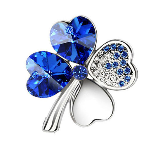 Brooches Crystal four leaf Clover