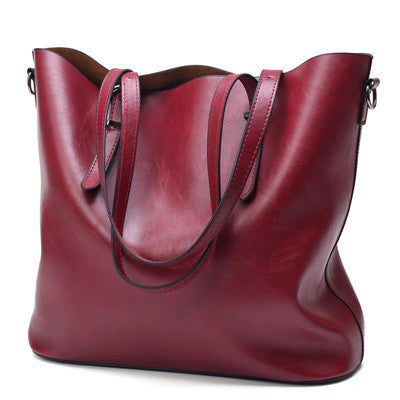 PU Oil Wax Leather Large Capacity Tote Bag - fazbima