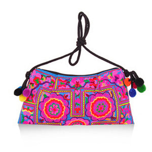 Handmade Double Faced Embroidered Small Travel Day Clutch Handbag - fazbima