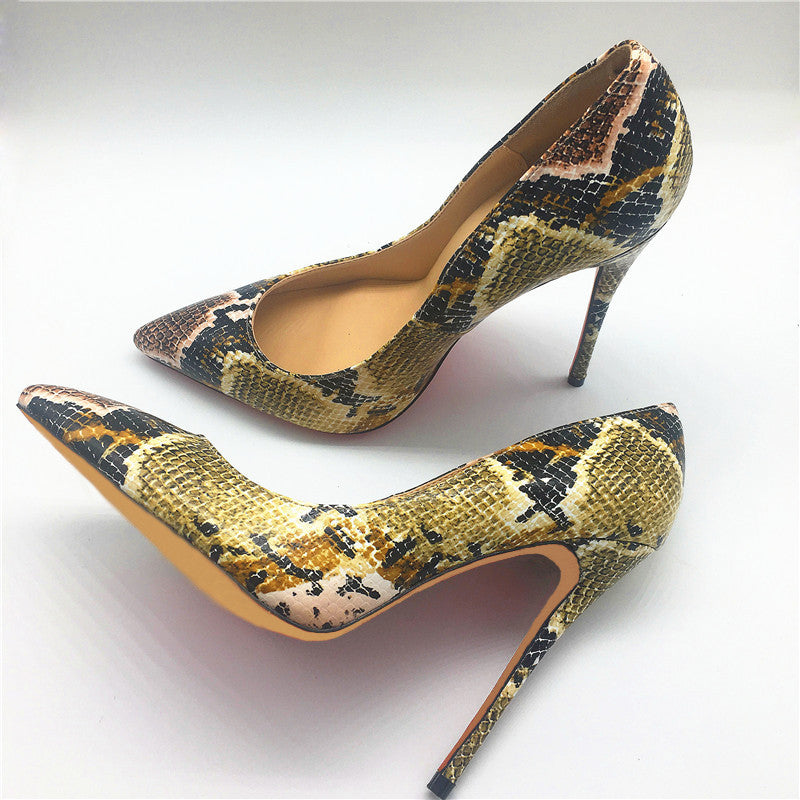 Shoes Pointed Toe Craylorvans Snake Printed - fazbima
