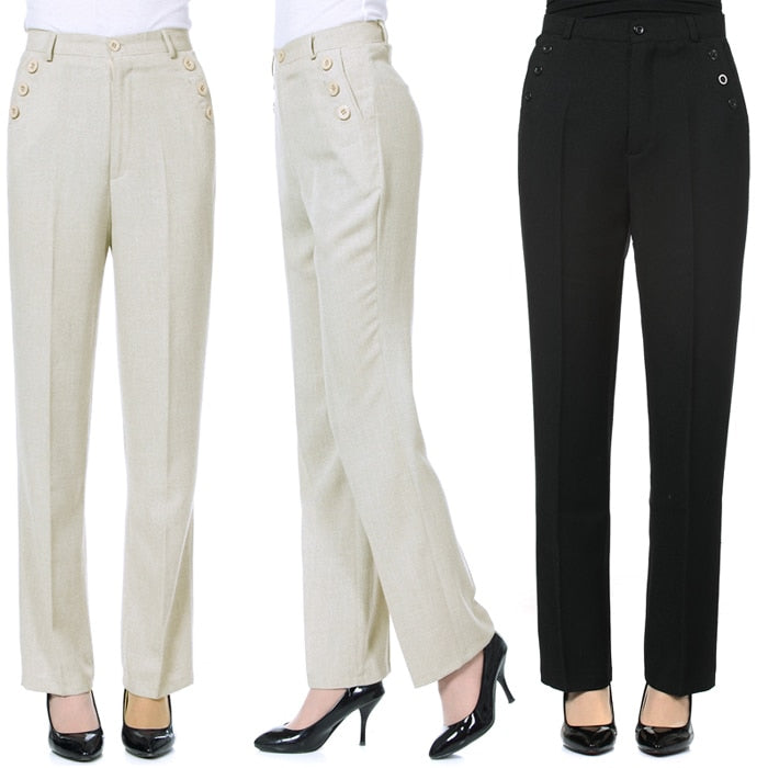 High Waist Linen Slim Straight Trouser - fazbima