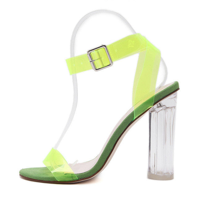 Crystal Clear Concise Buckle Ankle Strap Sandal - Fozbima Accessories