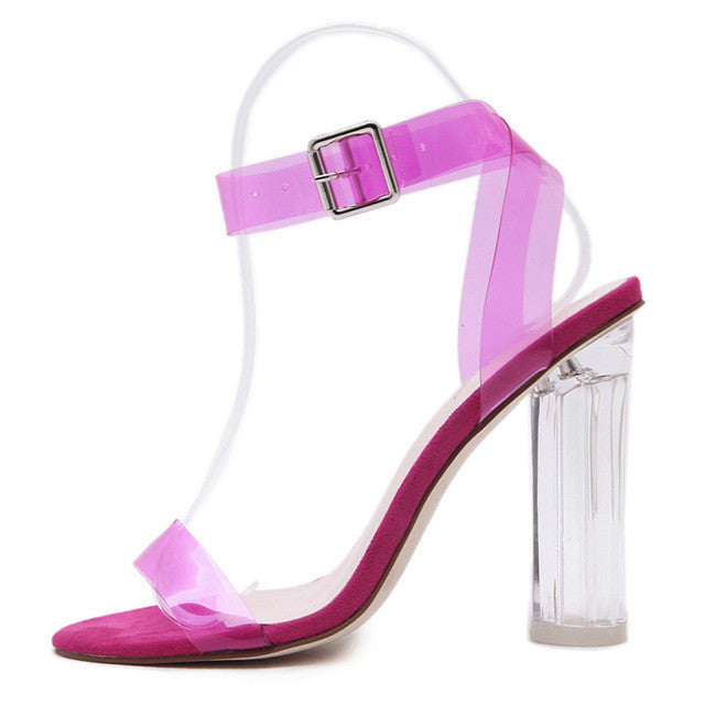 Crystal Clear Concise Buckle Ankle Strap Sandal - fazbima