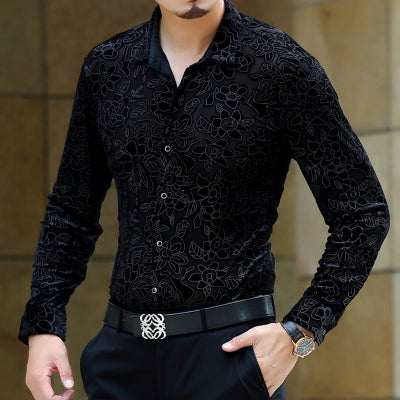 Soft And Comfortable Velvet Long-Sleeved Shirt As Picture 2 / M
