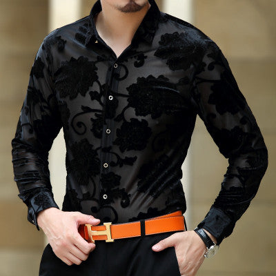 Soft And Comfortable Velvet Long-Sleeved Shirt As Picture 8 / M