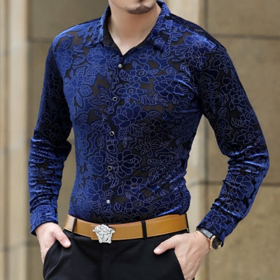 Soft And Comfortable Velvet Long-Sleeved Shirt As Picture 1 / M