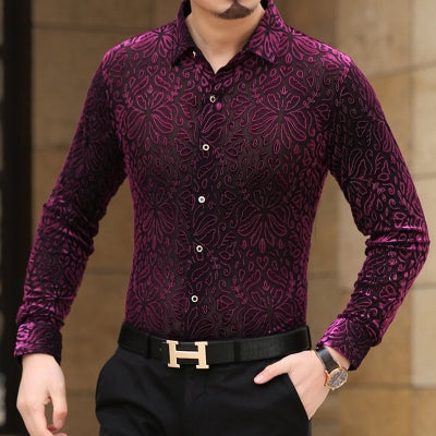 Soft And Comfortable Velvet Long-Sleeved Shirt As Picture 10 / M